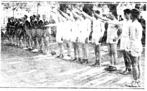 Traveling LDS Basketball Team gives Germany the Nazi Salute. Deseret News, Jan. 25, 1936.